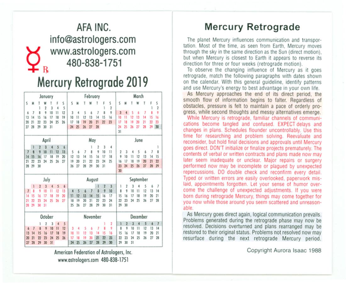 Deadline October 1, 2019 Mercury Retrograde Cards for 2020